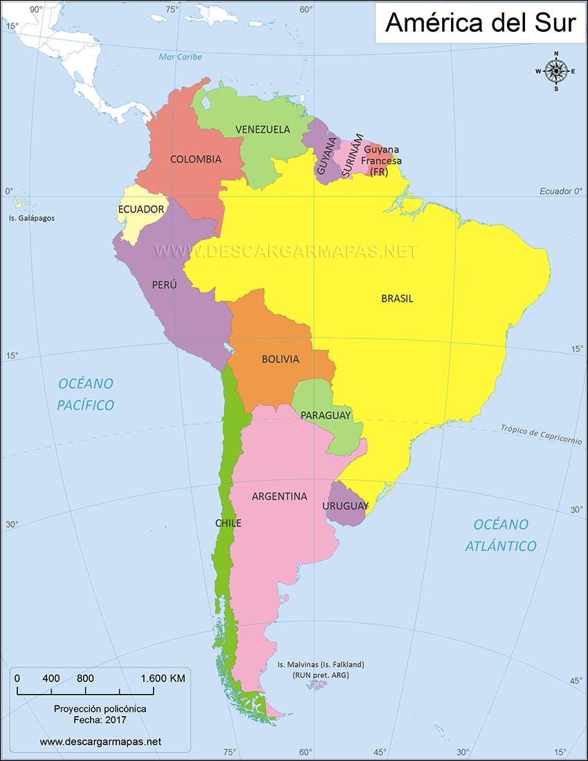 Mapa político de América del Sur | DESCARGAR MAPAS