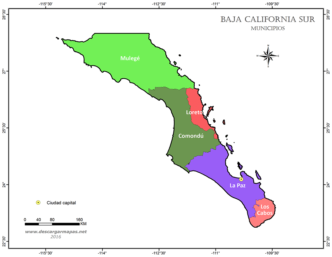 Mapa simple de municipios de Baja California Sur | DESCARGAR MAPAS