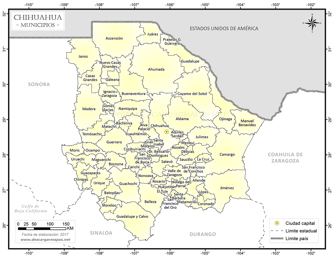 Mapa Division Municipal De Chihuahua Descargar Mapas