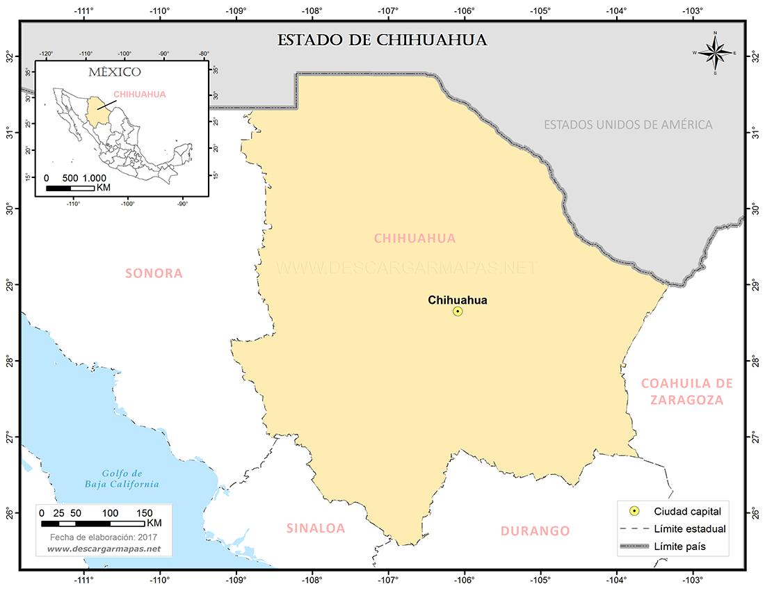 mapa de ubicación del estado de chihuahua | descargar mapas