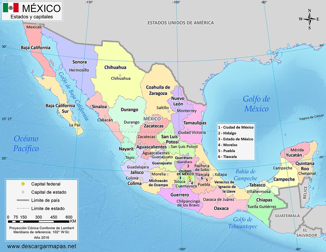 Estados De Mexico Mapa.Mapa De Mexico Con Estados Y Capitales Descargar Mapas