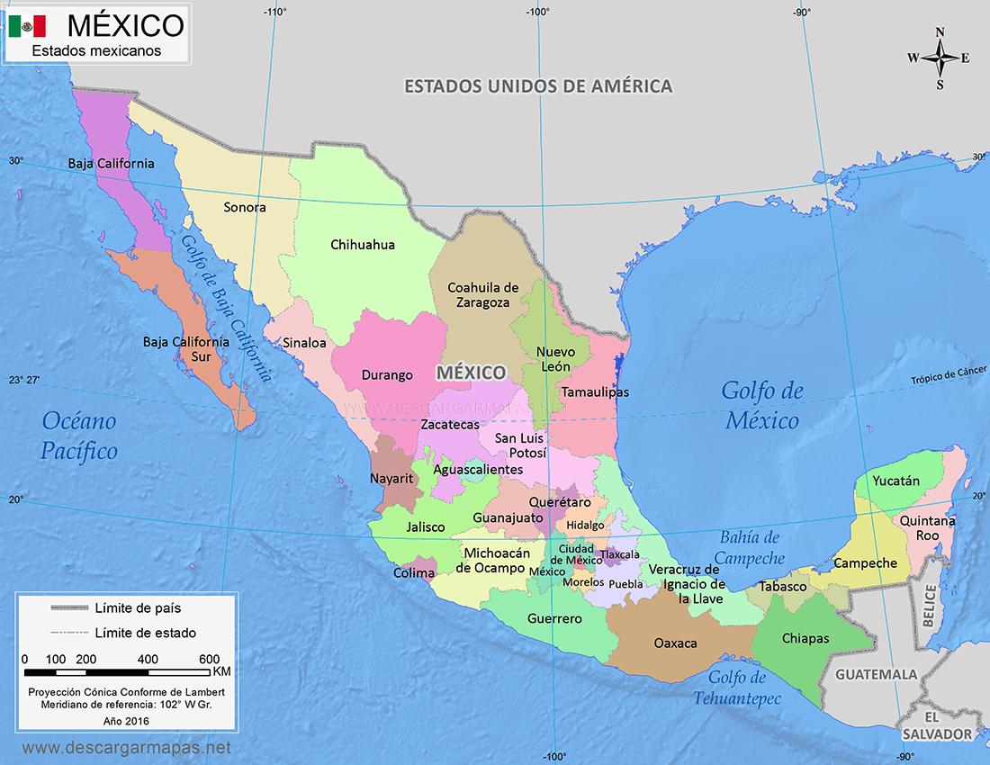 Mapa De México Dividido Por Estados DESCARGAR MAPAS - Mapa de mexico