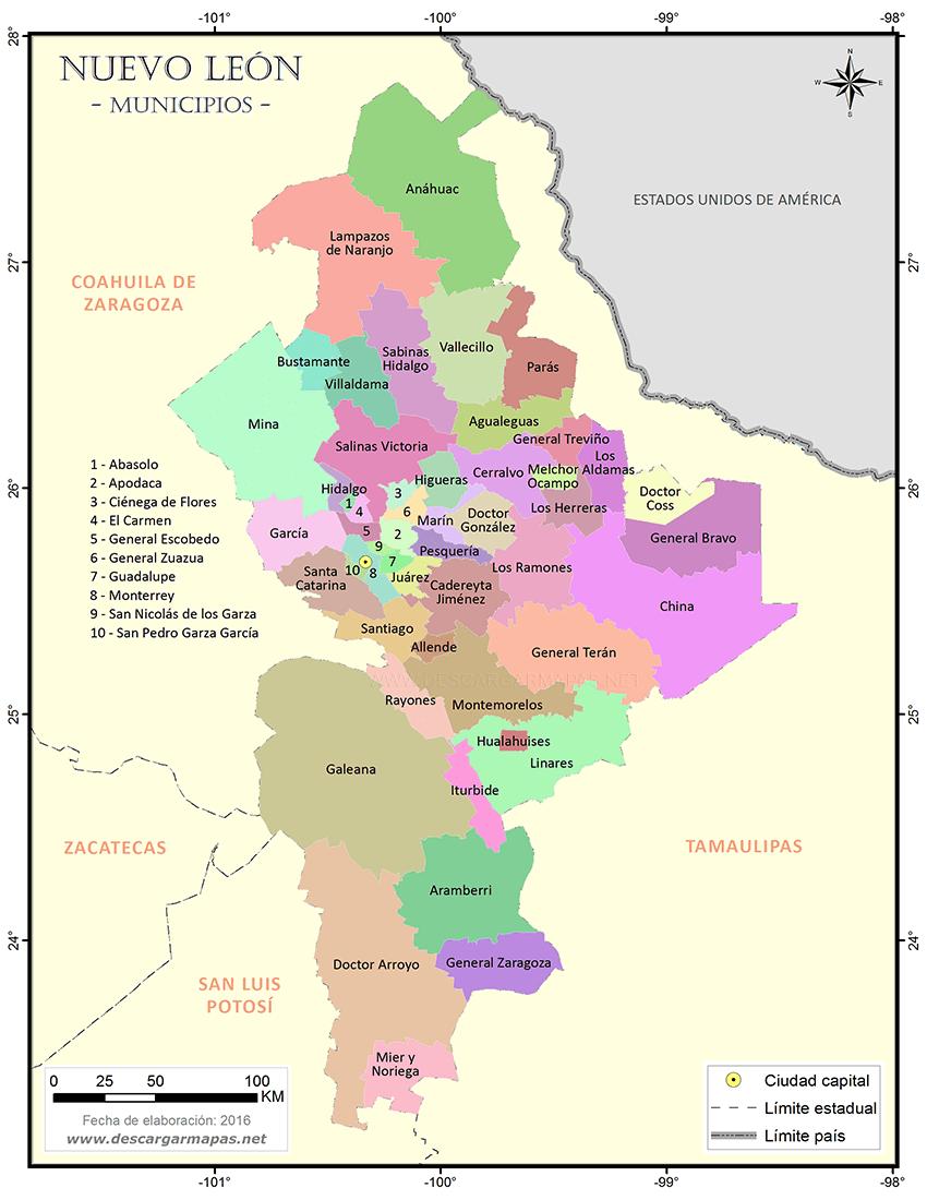 Mapa De Municipios De Nuevo León Descargar Mapas