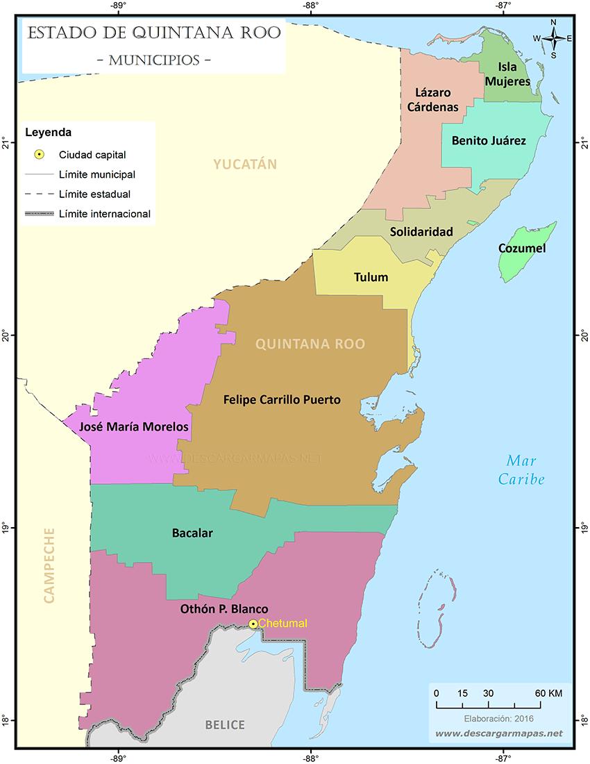 Mapa de municipios de Quintana Roo   DESCARGAR MAPAS Quintana Roo Map on